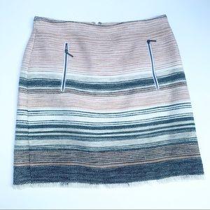 Loft Pastels Tweed Raw Edge Skirt Size 8